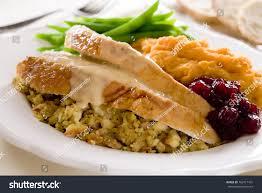 thanksgiving traditional traditional thanksgiving turkey dinner cranberry sauce stock photo