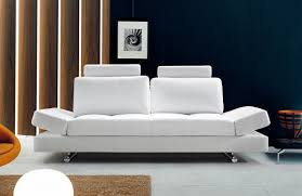 Modern Single Leather Sofas Hymn Modern White Leather Sofa W Adjustable Backrest