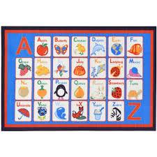 Alphabet Area Rug Ottomanson Children U0027s Alphabet Blue 5 Ft X 6 Ft 6 In Area Rug