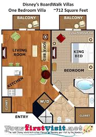 disney boardwalk villas floor plan photo tour of the living side of a one bedroom villa at disney s