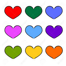 colorful heart shape for love hand drawn symbol design freehand