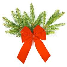 branch of christmas tree with red ribbon christmas and new year