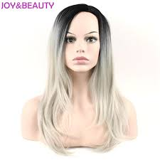 black at root of hair joy beauty hair black root ombre silver grey synthetic hair long