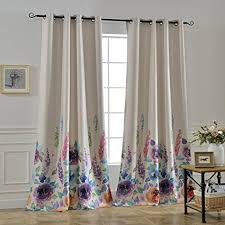 Purple Room Darkening Curtains Mysky Home Floral Design Print Grommet Top Thermal