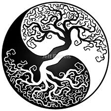 white and black tree of yin yang stickers by jeff bartels