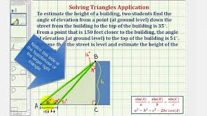 ex law of sines to determine a height of a building given two