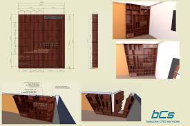 bookcase with hidden door to access panic room by bespoke cad