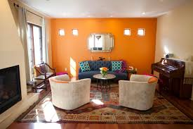 orange accent wall in living room centerfieldbar com