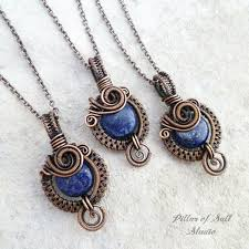 copper necklace pendant images Small blue lapis lazuli copper woven wire wrapped pendant necklace jpg