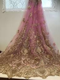 Lace Fabric For Curtains Rose Pink Mesh Gold Metallic Embroidery Lace Fabric 50