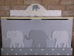 elephants yellow gray toy chest bench toy box hope chest