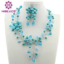 turquoise stone necklace set images New arrival charming handmade stone branches necklace set fashion jpg