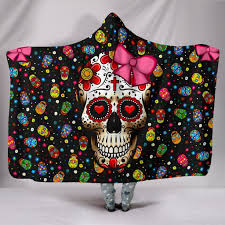 skull ribbon buy sugar skull ribbon hooded blanket hooded blanket hooded blanket
