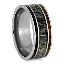 deer antler wedding band whiskey barrel wood ring set white gold and antler wedding band