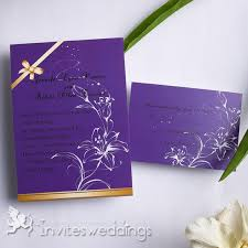 purple and gold wedding invitations gold ribbons shape wedding invitation iwi137 wedding invitations