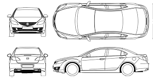 2008 mazda 6 sedan blueprints free outlines