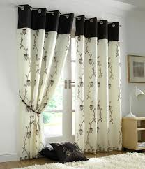 Cream Embroidered Curtains Tahiti Embroidered Voile Fully Lined Eyelet Curtains Brown U0026 Cream