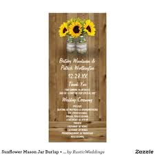 Sunflower Wedding Programs Sunflower Mason Jar Burlap Lace Wedding Programs Sunflower Mason