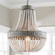 Chandelier Lamp Shades Shades Of Light Neutral Boho Aged Wood Beaded Chandelier
