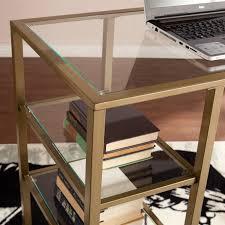 southern enterprises writing desk southern enterprises metal glass writing desk in gold ho3776