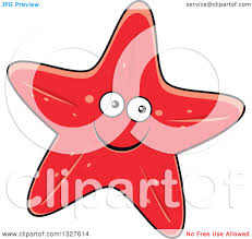 clipart of a cartoon red starfish character royalty free vector