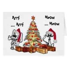 cute dog and cat with christmas tree greeting card christmas tree