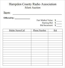 Raffle Sheet Template Silent Auction Bid Sheet Template 10 Free Sles Exles