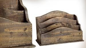 organiseur de bureau en bois trieur de courrier style bois recyclé