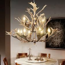 Faux Antler Chandelier Rustic 3 Light Twig Natural Resin Antler Chandelier For Living Room