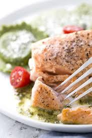 Elegant Formal Dinner Menu Ideas Roasted Salmon With Asparagus Ravioli And Pesto Sauce Jessica Gavin