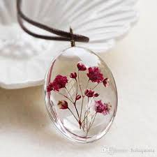 necklace flower handmade images Wholesale handmade dried flower necklace gypsophila time dome jpg