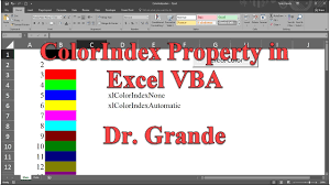 setting and identifying cell color with colorindex property in