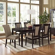espresso rectangular dining table casual dining room design with light brown velvet upholstered dining
