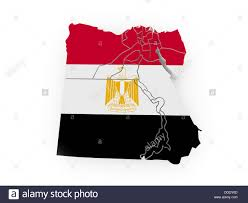 Image Of Flag Of Egypt Map Of Egypt In Egyptian Flag Colors 3d Stock Photo Royalty Free