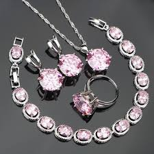 rings pink stones images Lovely pink stones silver 925 costume jewelry sets for women girl jpg