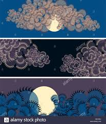 Purple Shades by Set Of Banners With Moon And Clouds In Japanese Style In Blue And