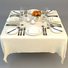 3d model dining table place settings cgtrader