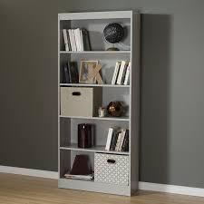 amazon com south shore axess 5 shelf bookcase soft gray kitchen