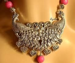handmade statement necklace images Ethnic pink peacock statement handmade necklace set at 2950 azilaa jpg