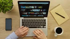 new york march 10 2017 social media man using laptop computer