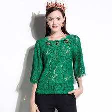 green womens blouse luxury zoo beading blouses oversize summer 2017 fashion