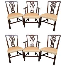 set of six chippendale style ribbon back dining room chairs at 1stdibs