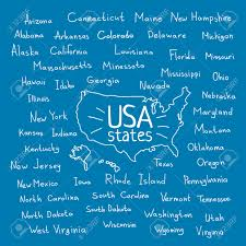 Usa Map Vector by Hand Drawn Usa Map With Handwritten State Names Royalty Free