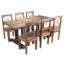 induscraft 7 pc recycled wooden dining table set dining table