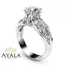 rings design unique engagement ring 14k white gold diamond ring filigree design