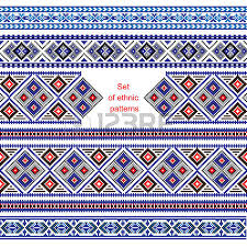 set of ethnic ornament pattern with cross stitch flower vector