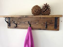 Wooden Wall Shelves With Brackets Handmade Wall Mount Rustic Wood Coat Rack With Shelf A