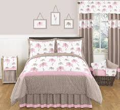 Girls Bedding Queen Size by Sweet Jojo Designs Elephant Pink Collection 3pc Full Queen Bedding Set