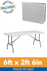 6 plastic folding table 6ft x 2ft 6in centre fold rectangle plastic folding table