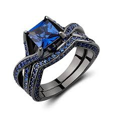 black and blue wedding rings caperci black sterling silver 925 princess cut created blue